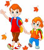 Two boys go to school