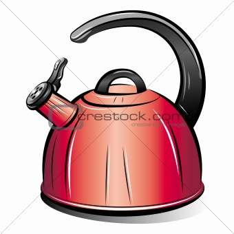drawing of the red teapot kettle, vector illustration