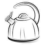 drawing teapot kettle, vector illustration