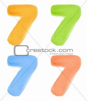Watercolor number