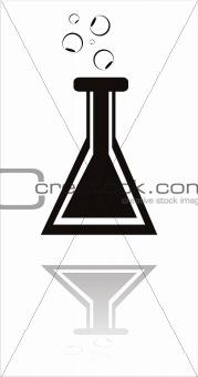 black chemical bottle icon