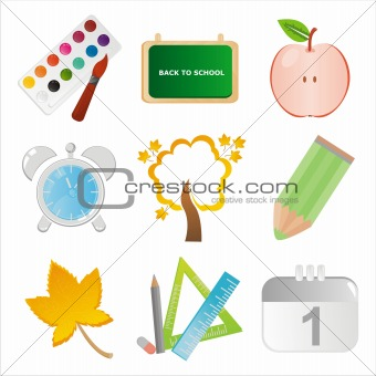 colorful school icons