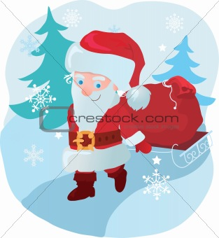 Santa with gifts in forest
