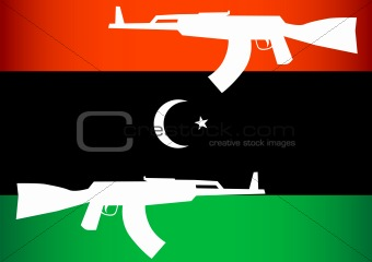 Vector image of Libyan opposition flag and arms