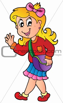 Cartoon girl walking to school