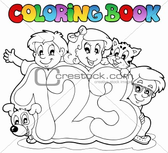 Coloring book school numbers