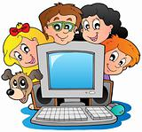 Computer with cartoon kids and dog