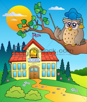 Owl teacher with school building