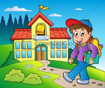 Theme with boy and school building