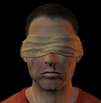 tortured blindfolded man