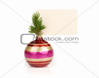 Christmas ball with blank greeting card