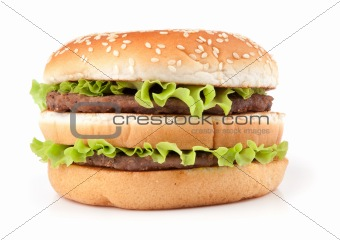 Tasty big hamburger isolated on white background