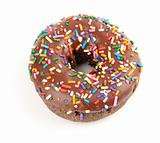 Donut with chocolate icing and colorful sprinkles