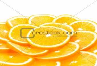 sliced orange isolated over white