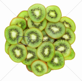 Close up of kiwi slices isolated over white background