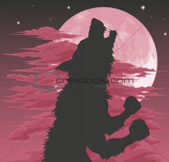 Werewolf silhouette howling at moon