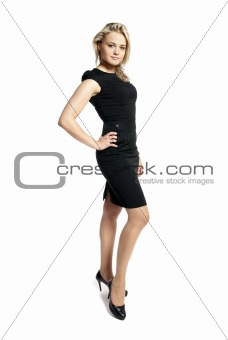 Attractive young woman in a black dress