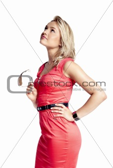 Attractive young woman in a red dress