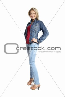 Attractive young woman in a blue jeans