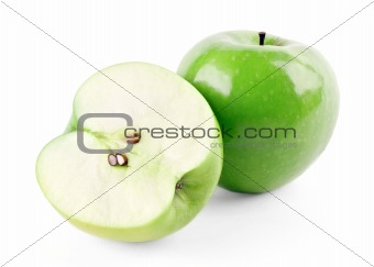 Green ripe apple and half