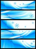 set of five winter banners, vector  without gradient