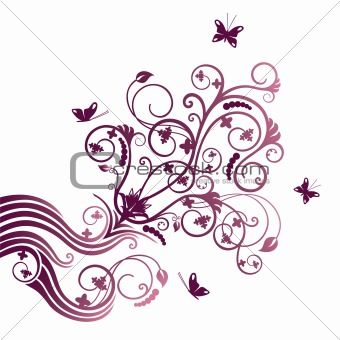 Purple flower and butterfly corner ornament