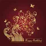 Red and gold floral birthday card