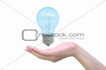 light bulb in women hand