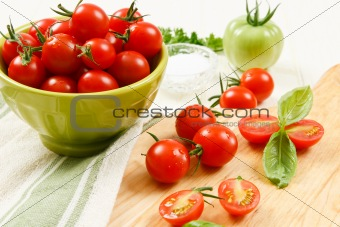 Close up of Cherry Tomatoes with Basil