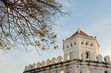 White old Thai style fort near Chao Phraya river in Bangkok