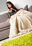 Female sofa blanket