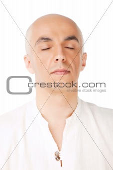 face bald male meditation