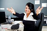 hug smile latino businesswoman