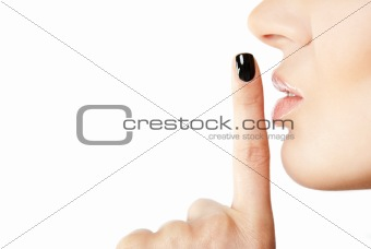 Female finger silence sign