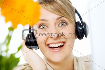 Happy woman headset