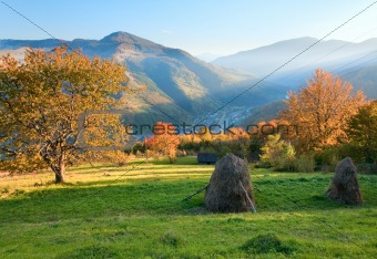 Autumn evening mountain hill