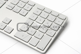 White computer keyboard close-up