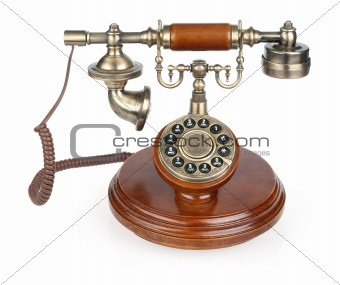 Old vintage phone. Isolated on white background