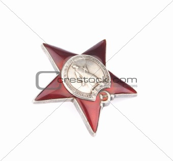Russian Order Red Star on a White background