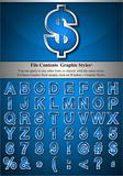 Blue Alphabet with Silver Emboss Stroke