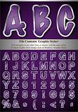 Purple Alphabet with Silver Emboss Stroke