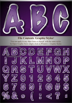 Purple Alphabet with Silver Emboss Stroke