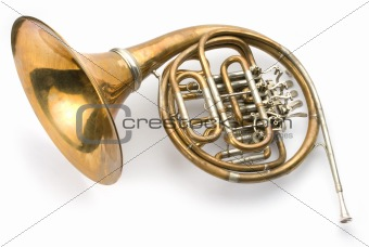 Old horn on white background