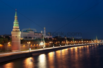 Tower and wall of Moscow Kremlin at night