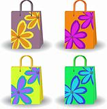 set of bright shopping bags