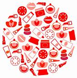 Wellness and cosmetics icons circle isolated on white ( red )