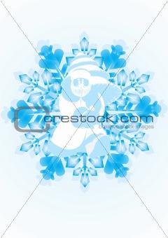 Santa Claus on a snowflake