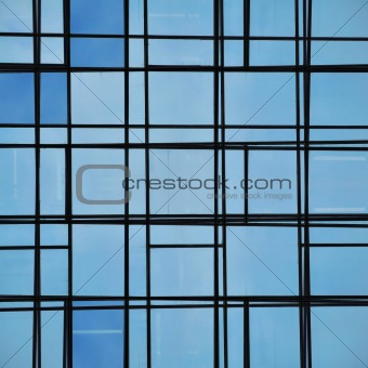 abstract facade lines and glass reflection