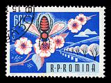 honey bee on flower vintage postage stamp