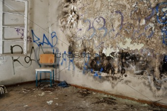 chair in decayed room
